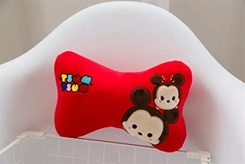 FinexSet of 2 Tsum Tsum Plush Neck Rest Head Support Cushion Pillow for Car Travel (Red Mickey & Minnie Mouse)