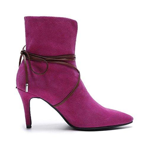 Alti Vera Femminile Inverno Autunno Con Nsxz Stivaletti Tacco rosa In Moda 38 Pelle x0AHwZq