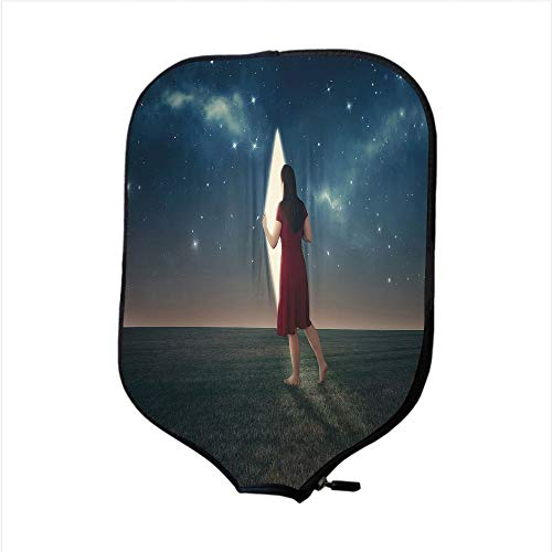 (Neoprene Pickleball Paddle Racket Cover Case,Surrealistic,Barefoot Woman Looking Beyond The Stars Science Fiction Space Illustration,Multicolor,Fit for Most Rackets - Protect Your)