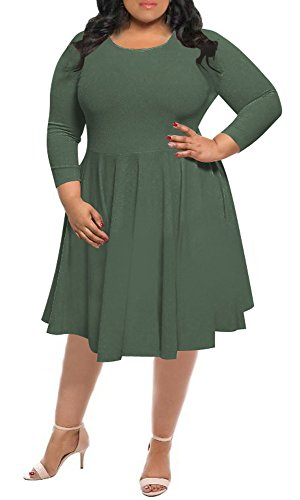 Delcoce Flare Plus Size Dresses For Women 4XL Emipre Waist Bodycon Swing Dress Army Green (Plus Flare Dresses Size)