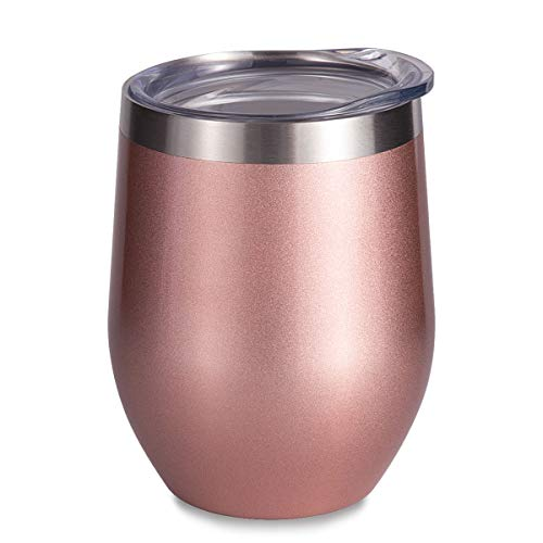 - SUNWILL Vaccum Insulated Wine Tumbler with Lid Rose Gold, Double Wall Stainless Steel Stemless Insulated Wine Glass 12oz, Durable Insulated Coffee Mug, for Champaign, Cocktail, Beer, Office ...