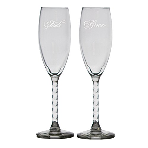 Ivy Lane Design Set of 2 Wedding Flutes, Bride/Groom - Groom Design Toasting Flutes