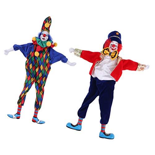 (Fenteer 2 Pieces 41cm Clown Man Figure Doll Halloween Decoration Ornaments Home Table Desk Top)