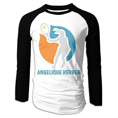 fan products of LOVEGIFTTO MEN Mens Angelique Kerber Tennis Player Long Sleeve Comfort Raglan Tee Shirt XX-Large