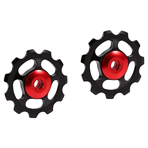 2pcs 11T Bike Aluminum Alloy Bearing Jockey Wheel Rear Derailleur(Black) - 6