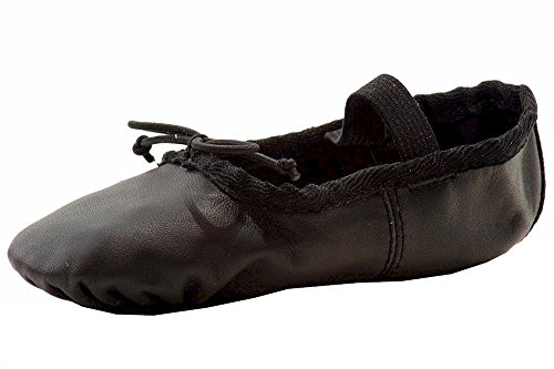 Dance Class Toddler Girls Bailarín De Cuero Suave Y Negro Slip On Dancing Zapatos Sz. 10