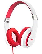 Elecder i41 Kids Headphones, Headphones for Kids Children Girls Boys Teens Foldable Adjustable On Ear Headphones with 3.5mm Jack for iPad Cellphones Computer MP3/4 Kindle Airplane School White/Red