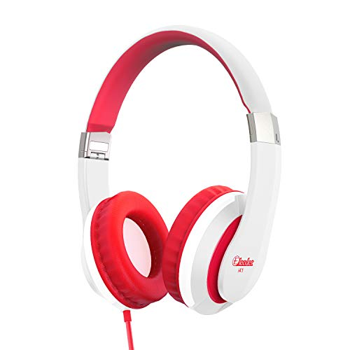 Kids Headphones Elecder i41 for Kids Childrem Girls Boys Teens Adults Foldable Adjustable On Ear Headsets with 3.5mm Jack for iPad Cellphones Computer MP3/4 Kindle Airplane School White/Red