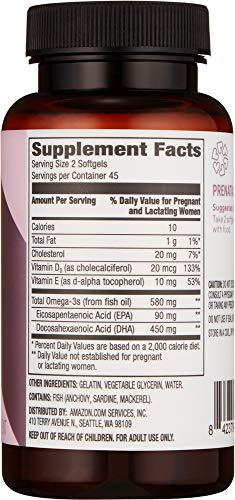 Amazon Brand - Revly Prenatal Fish Oil Supplement, DHA + D3, 90 Softgels, 450 mg Omega 3 DHA with 20 mcg Vitamin D3 per Serving (2 Softgels), Wild-Caught Fish Oil