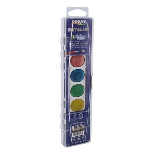 Prang Metallic Washable Watercolors, 8 Assorted Colors by Prang