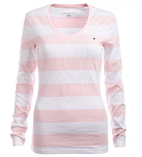 ef97c188 Tommy Hilfiger Women's Wide Stripes Long Sleeve V-Neck T-Shirt (XS,  Pink/White) - Buy Online in Oman. | Apparel Products in Oman - See Prices,  ...