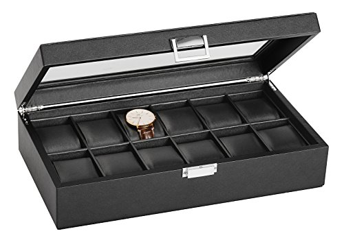 SWEETV Large Watch Case for Men - 12 Watches Slots, Faux Leather Luxury Jewelry Display Organizer Watch Box Storage w/Glass Top, Lockable Metal Buckle, Black (Large Solid Display Wood Case)