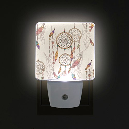 GIOVANIOR Bohemian Dream Catcher with Beads and Feathers Pattern Plug in Dusk to Dawn Light Sensor LED Night Light Wall Light for Bedroom, Bathroom, Hallway, Stairs, Energy Efficient
