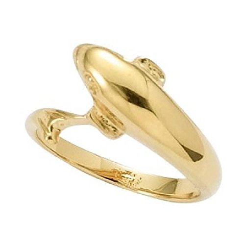 (So Chic Jewels - 18k Gold Plated Dolphin Band Ring - Size 5.5 )