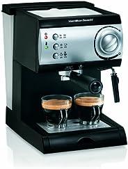 Hamilton Beach 40715 Cafetera Espresso, 2 Tazas, Cappuccino, Mocha y Latte, 15 Bares, Negro y Plata