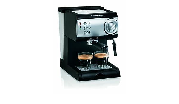 Hamilton Beach 40715 Máquina espresso 2tazas Negro, Plata - Cafetera (Máquina espresso, De café molido, Negro, Plata): Amazon.es: Hogar