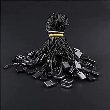 1000 PCS Black Hang Tag Fasteners Clothes Tag String CSC@C Black Nylon Tag String with Snap Lock Price Tags String