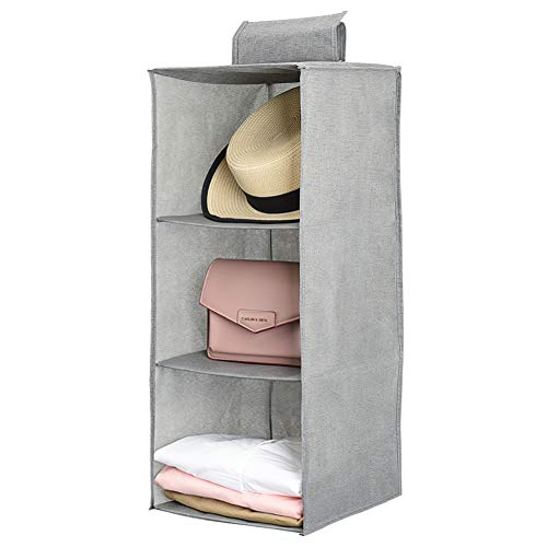 jiatushuma Hanging Closet Organizer,Hanging Shoe Shelves,3 Shelf Hanging Organizer Made by Non-Woven Fabric,Lightweight,Non-irritating,Foldable,Keep Your Wardrobe Clean & Tidy. Easy Mount.