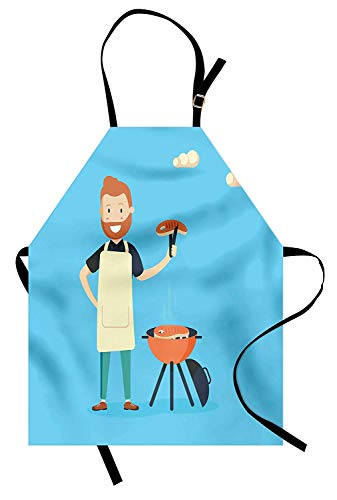 (T&H Home BBQ Party Apron, Cheerful Man Cooking Steak on a Grill in a Sunny Day Outdoor Barbecue Party, Unisex Kitchen Bib Apron Adjustable for Kids Adults Cooking Baking Gardening, Blue Multicolor)