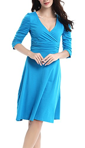 DELEY Vestido Manga Fiesta Retro Blue Cóctel Mujer Elegante Dress 3 Sky V Casual Cuello 4 ra8rHqg5n