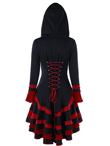 Buckle Front Jacket (CharMma Women's Long Flare Sleeve Buckle Duffle High Low Lace Up Hooded Coat (Black and Red, L))