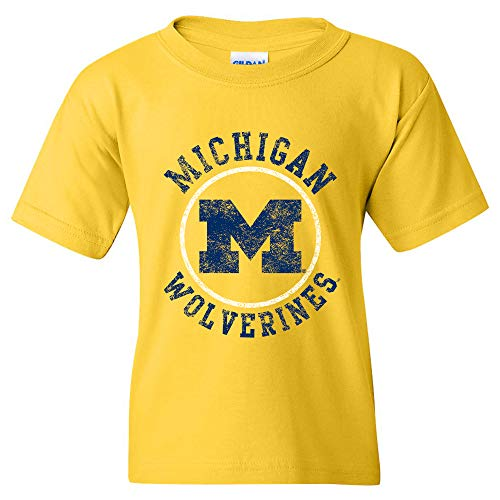 YS04 - Michigan Wolverines Distressed Circle Logo Youth T-Shirt - Small - Daisy