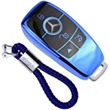 blue Silicone Shell Cover for Mercedes Key Soft TPU Case in Chrome for Mercedes E-Class Keyless CLA Remote Control CLK GLA GLC GLK Protection with Keychain