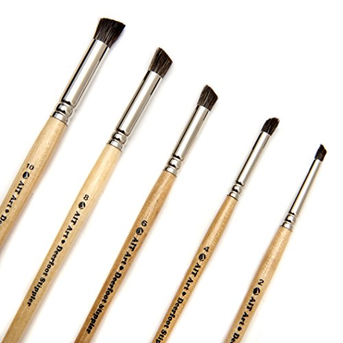 AIT Art Natural Hair Deerfoot Stippler Texture Brushes - Set of 5 - Handmade in USA for Superior Results with Watercolors, Acrylic, and Oil