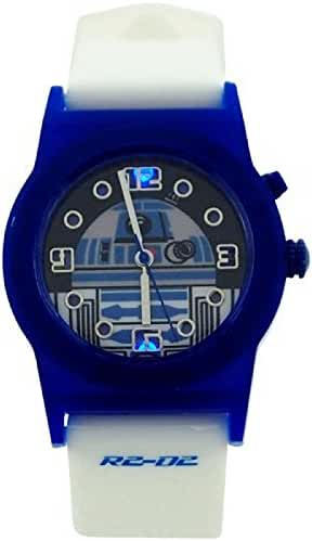 Star Wars Boys Analogue R2-D2 Flashing Lights White Rubber Strap Watch RTD3206