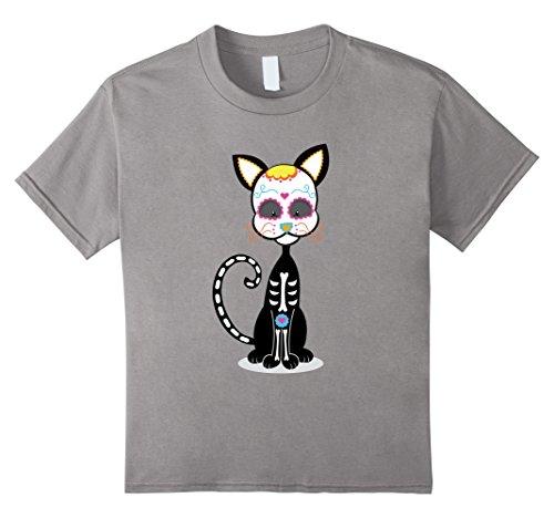 Dia De Los Muertos Costume Girl (Kids Black Cat Sugar Skull costume Mexico Dia de los Muertos 4 Slate)