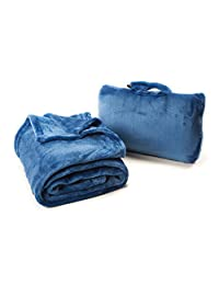 "Cabeau ""Fold 'n Go"" Travel Blanket with Portable Case, Cabeau Blue, Under Seat"