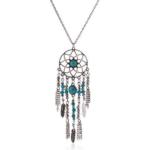 LUREME Native American Dream Catcher Turquoise Pendant Long Chain Necklace (01003467) (Antique Silver) -