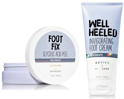 Bath and Body Works Active Skin Care Foot Care Set. Well Heeled Invigorating Foot Cream. 6 Oz & Foot Fix Glycolic Acid Peel.7 Oz.