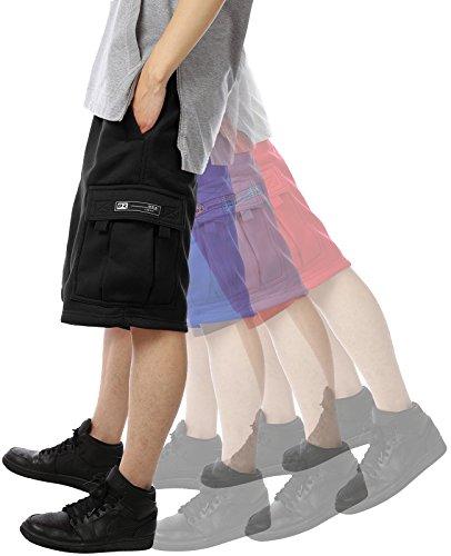DR Men's Cargo Sweat Shorts Elastic Drawstring Casual Loose Fit Fleece