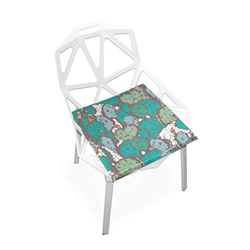 Stowely Tiffanyuo Blue Green Messy Cactus Seat Cushion Anti-Dust Velvet Dinning Upholstered Chair Seat Cushion Slipcovers