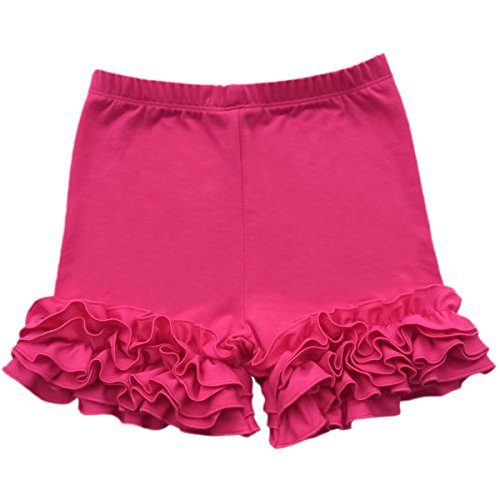 IBTOM CASTLE Baby Girls Double Icing Ruffle Cotton Shorts Bottoms Boutique Pants Rose 12 Months (Dress Up Boutique Hours)