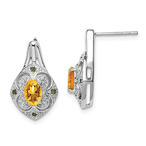 925 Sterling Silver Wht Green Diamond Yellow Citrine Oval Post Stud Earrings Drop Dangle Fine Jewelry Gifts For Women For Her
