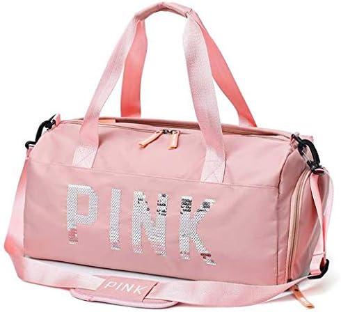 女性の大容量旅行バッグジム多機能アウトドアゴルフスポーツバッグ防水ダッフルバッグ独立した靴位置の複数の収納袋デザインブラック、ピンク HMMSP (Color : Pink)
