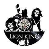 The Lion King Vinyl Record Creative Wall Clock 12'Black Round-Handmade-Wall Hanging Clock Time Watch Kitchen-Art Home Decor Interior Design Children Room Living Bedroom Nursery Decoration-Best Gift for Kids Boy Girl Mother Father and Office