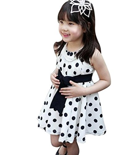 Lisin 1PC Kids Children Clothing Polka Dot Girl Chiffon Sleeveless Sundress Dress (5-6Years, White) (Turtle Tea Time)