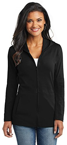Port Authority Ladies Modern Stretch Cotton Full-Zip Jacket, Black, (Cotton Stretch Jacket)