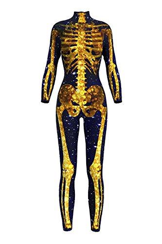 Selowin Women Galaxy Skeleton Bones Halloween Dress Bodycon Party Catsuit Jumpsuits Yellow M ()