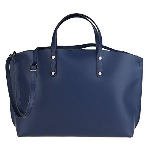 Véritable Main Italie Sac Foncé Chicca En Bleu Borse Cm 47x30x14 Femme Cuir À Fabriqué IwCI01q