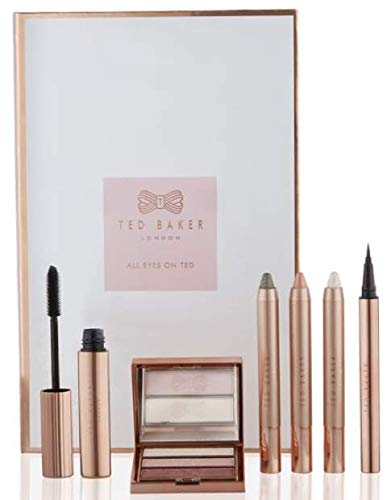 Exclusive New Ted Baker All Eyes On Ted Christmas Gift Makeup Set Of Eyeshadow Pink Shimmer, Highlight, Crayon Rose Gold And Bronze, Highlighter Crayon, Liquid Eye Liner Pen And Mascara TB