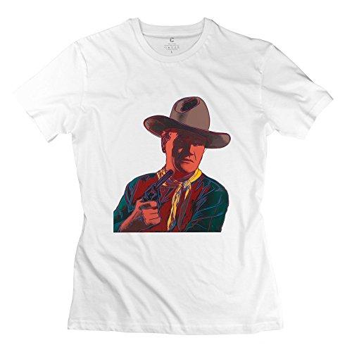 Women's Cowboy John Wayne Movies Short Sleeve Tee Size XL White