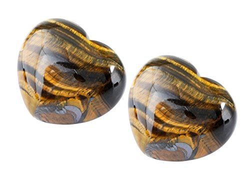rockcloud Healing Crystal Tiger's Eye Heart Love Carved Palm Worry Stone Chakra Reiki Balancing(Pack of 2) by rockcloud