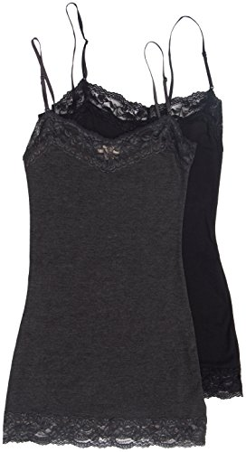 2 Pack Zenana Women's Lace Trim Cami Tank Tops Medium Black, Charcoal (Trim Girls Lace Camis)