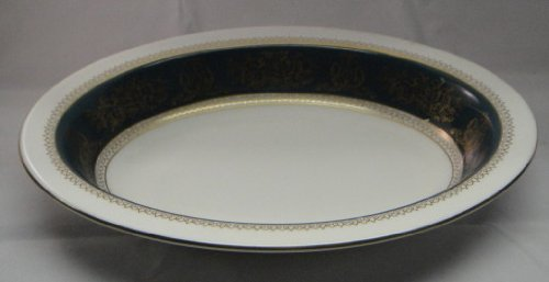 Wedgwood Columbia Blue & Gold Oval Vegetable Bowl