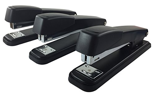 Clipco Stapler with 6000 Staples Full Desk Size Black (3-Pack)