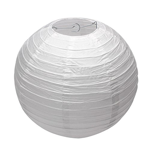 10 Pack White Round Paper Lanterns 8 inch Birthday/Wedding/Party Ceiling Hanging - Paper Ceiling
